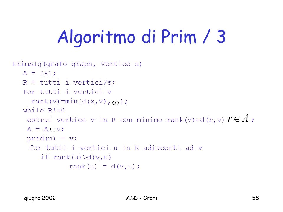 Algoritmo di Prim / 3 PrimAlg(grafo graph, vertice s) A = {s};