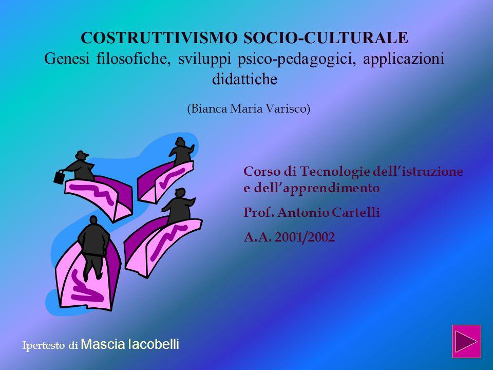COSTRUTTIVISMO SOCIO-CULTURALE Genesi filosofiche, sviluppi psico-pedagogici, applicazioni didattiche