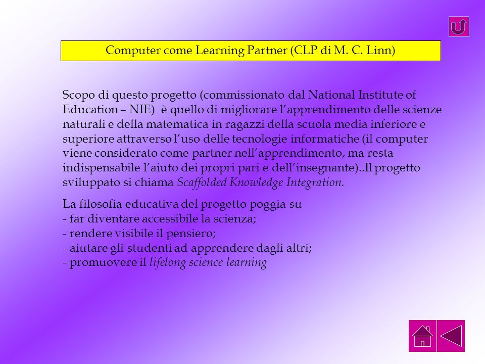 Computer come Learning Partner (CLP di M. C. Linn)