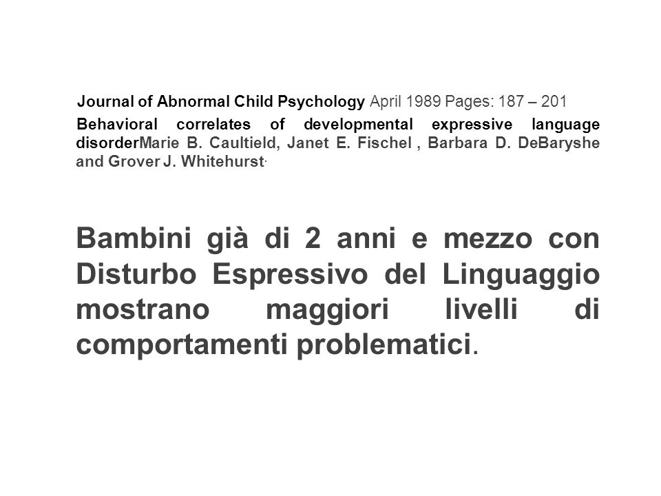 Journal of Abnormal Child Psychology April 1989 Pages: 187 – 201