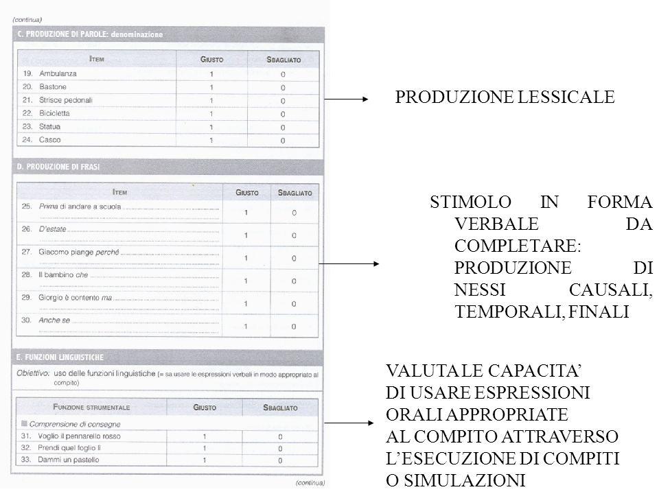 PRODUZIONE LESSICALE STIMOLO IN FORMA VERBALE DA COMPLETARE: PRODUZIONE DI NESSI CAUSALI, TEMPORALI, FINALI.