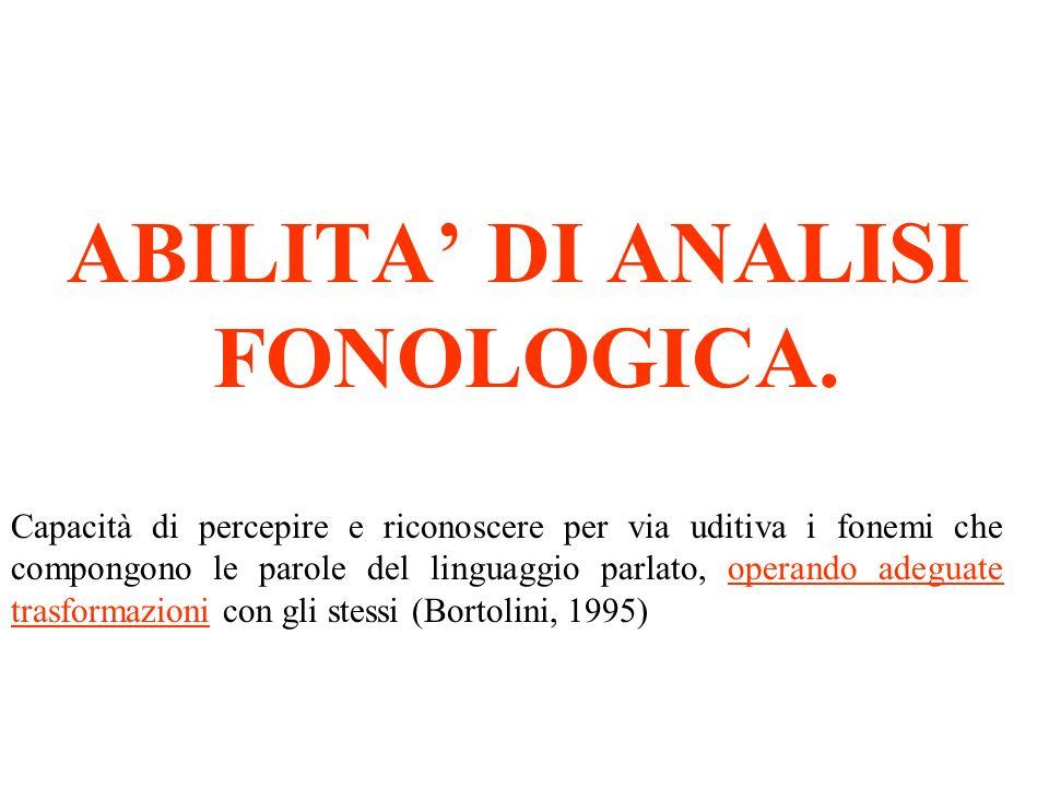 ABILITA' DI ANALISI FONOLOGICA.