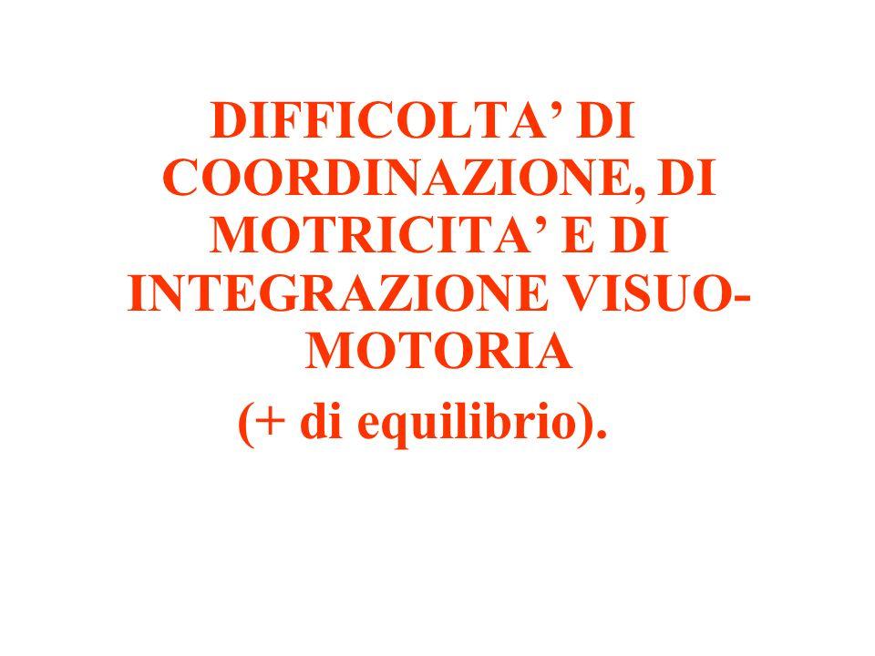 DIFFICOLTA' DI COORDINAZIONE, DI MOTRICITA' E DI INTEGRAZIONE VISUO-MOTORIA