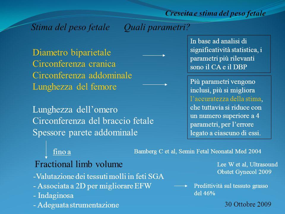 Stima del peso fetale Quali parametri