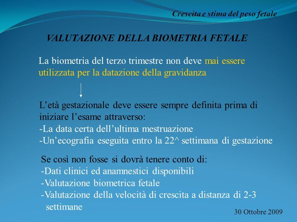 VALUTAZIONE DELLA BIOMETRIA FETALE