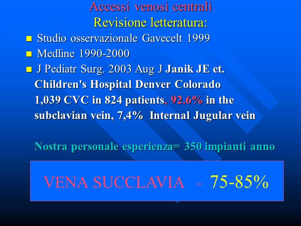 Accessi venosi centrali Revisione letteratura: