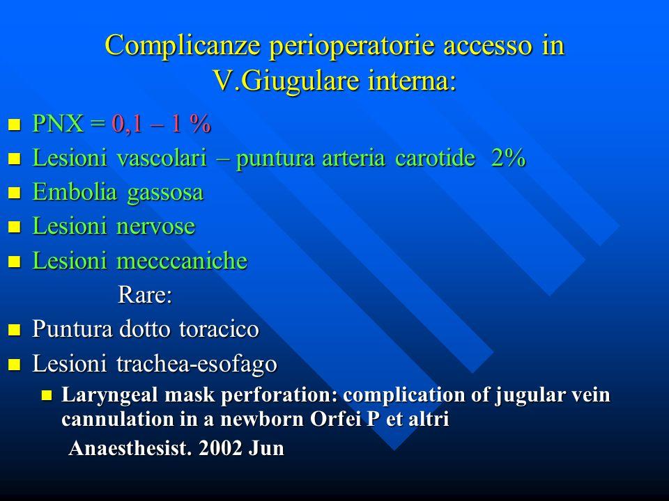 Complicanze perioperatorie accesso in V.Giugulare interna: