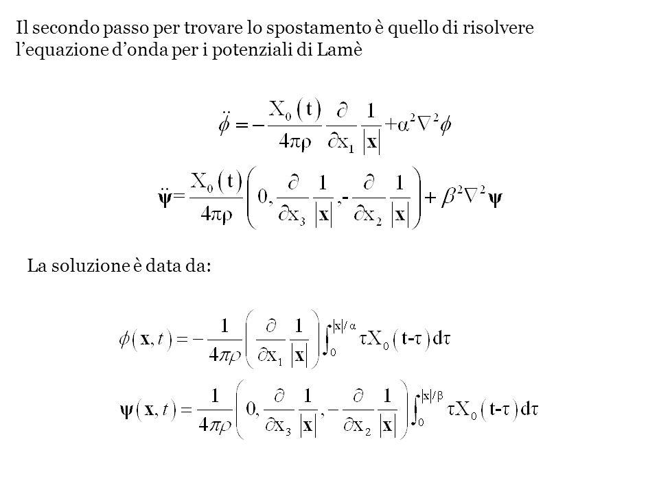 Il secondo passo per trovare lo spostamento è quello di risolvere l'equazione d'onda per i potenziali di Lamè