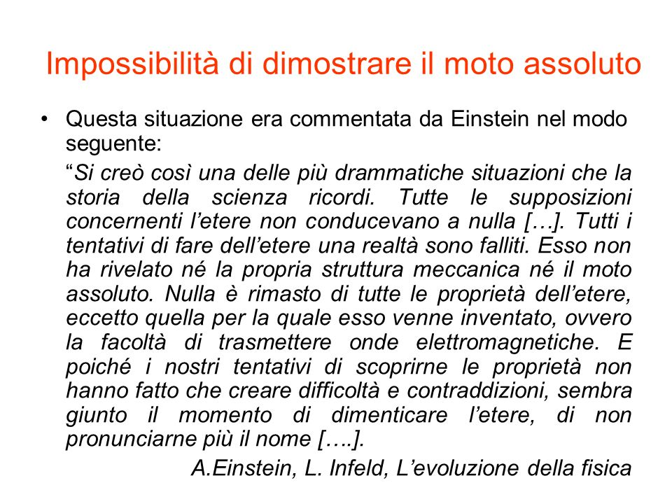 Impossibilità di dimostrare il moto assoluto