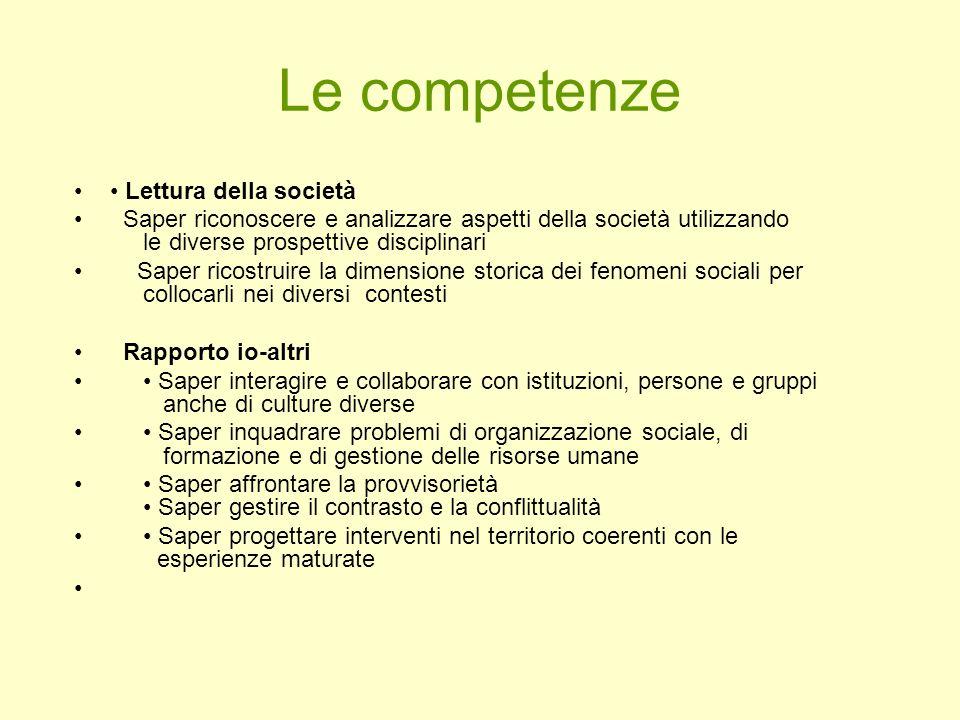 Le competenze • Lettura della società
