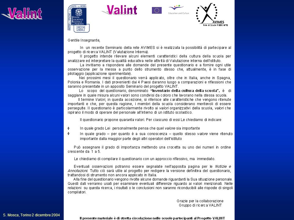Valint S. Mosca, Torino 2 dicembre 2004