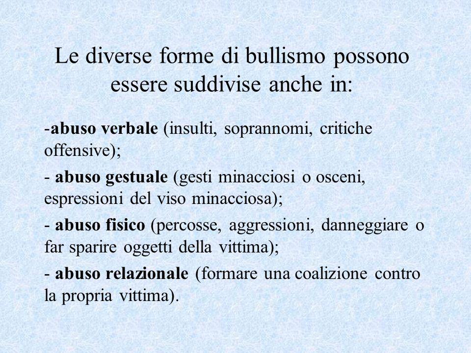Le diverse forme di bullismo possono essere suddivise anche in: