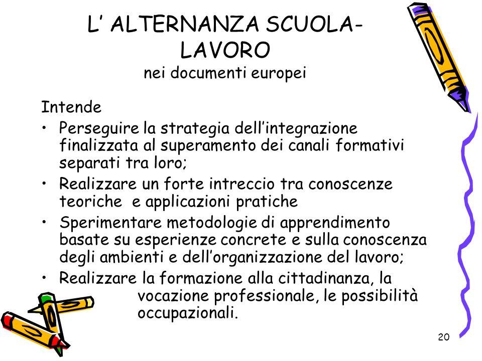 L' ALTERNANZA SCUOLA-LAVORO nei documenti europei