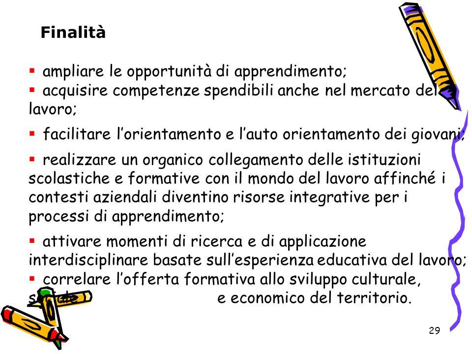 Finalità ampliare le opportunità di apprendimento; acquisire competenze spendibili anche nel mercato del lavoro;
