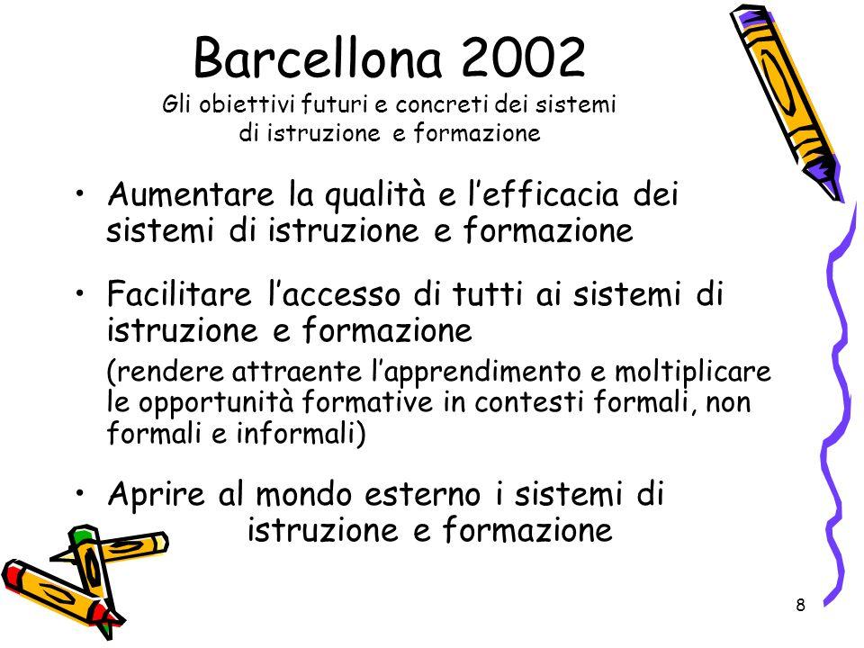 Barcellona 2002 Gli obiettivi futuri e concreti dei sistemi di istruzione e formazione