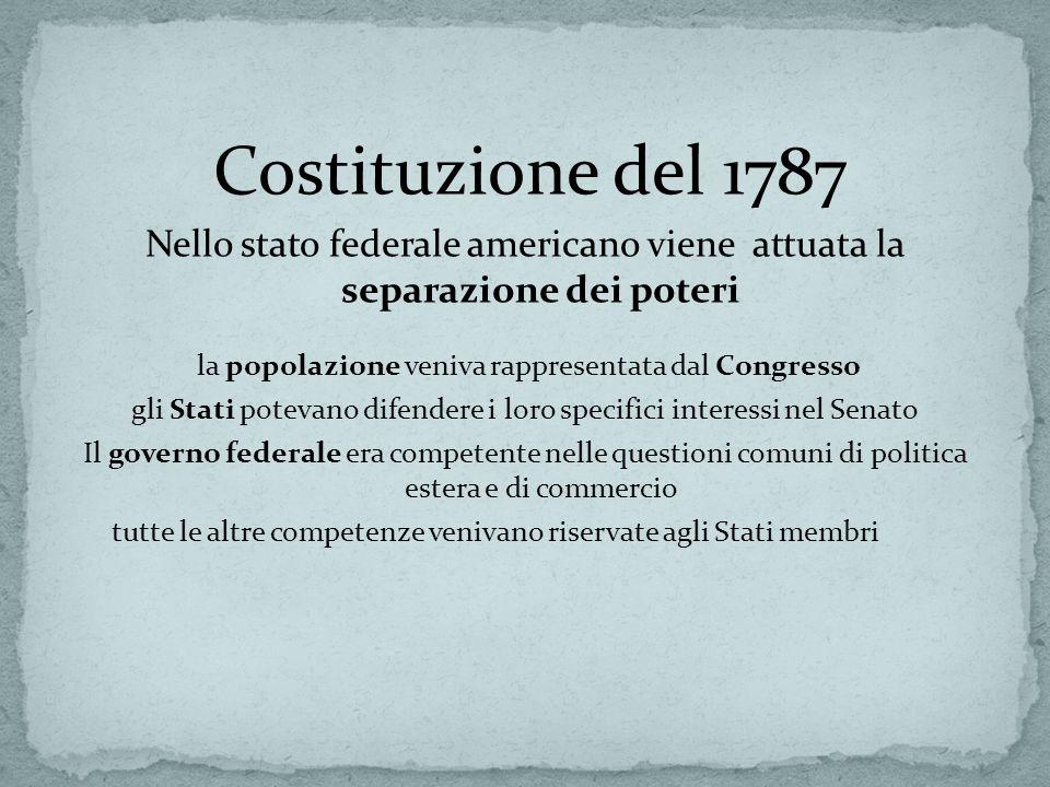 Nello stato federale americano viene attuata la separazione dei poteri