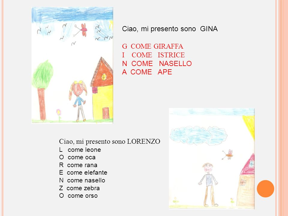 Ciao, mi presento sono GINA G COME GIRAFFA I COME ISTRICE