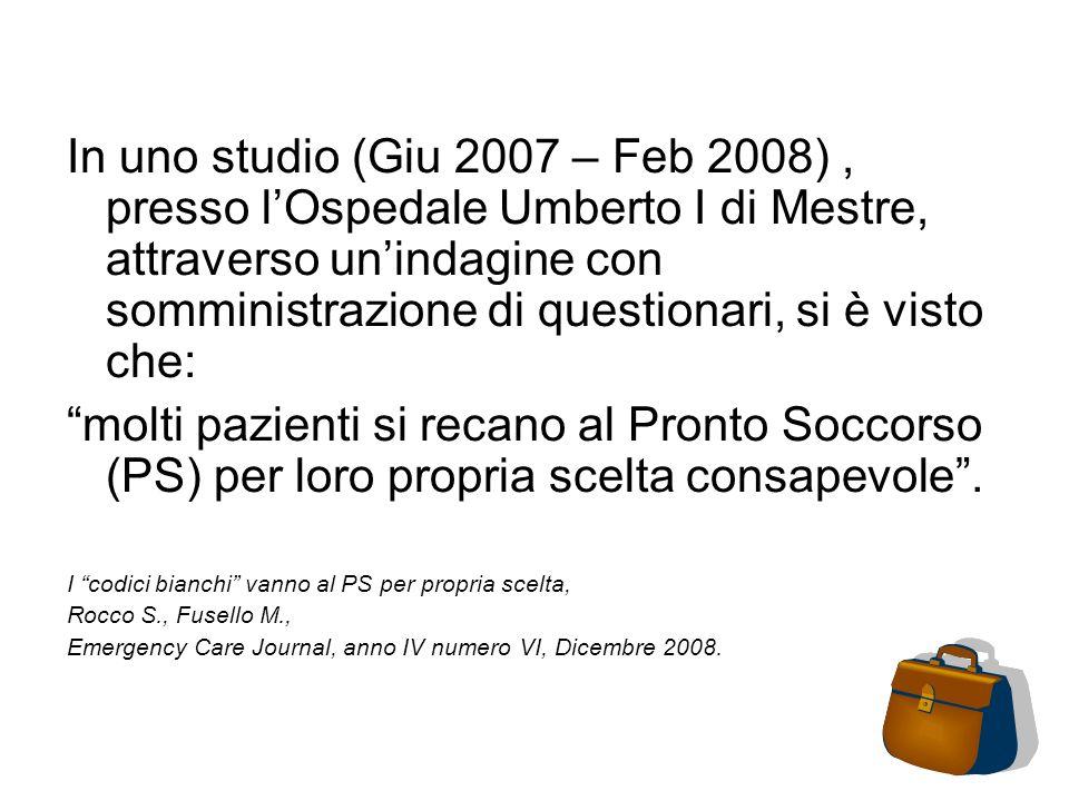 In uno studio (Giu 2007 – Feb 2008) , presso l'Ospedale Umberto I di Mestre, attraverso un'indagine con somministrazione di questionari, si è visto che: