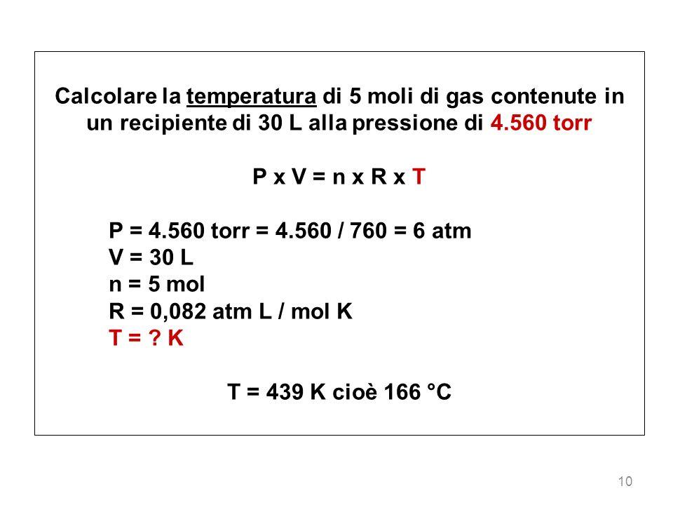 Calcolare la temperatura di 5 moli di gas contenute in un recipiente di 30 L alla pressione di 4.560 torr