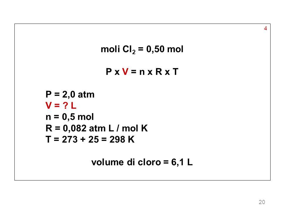 moli Cl2 = 0,50 mol P x V = n x R x T volume di cloro = 6,1 L