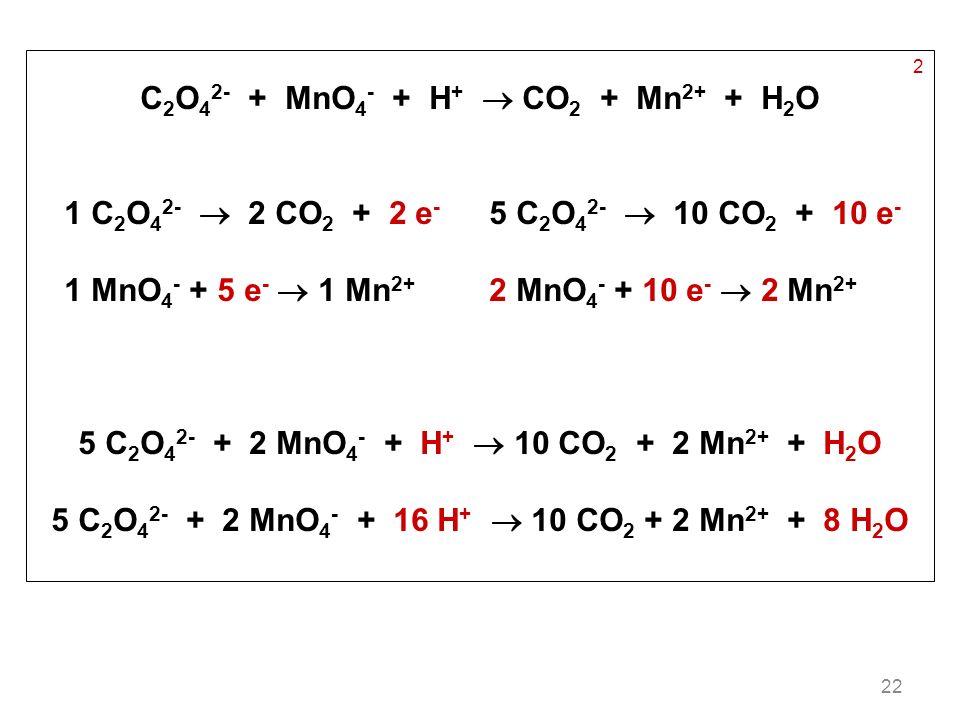 C2O42- + MnO4- + H+  CO2 + Mn2+ + H2O