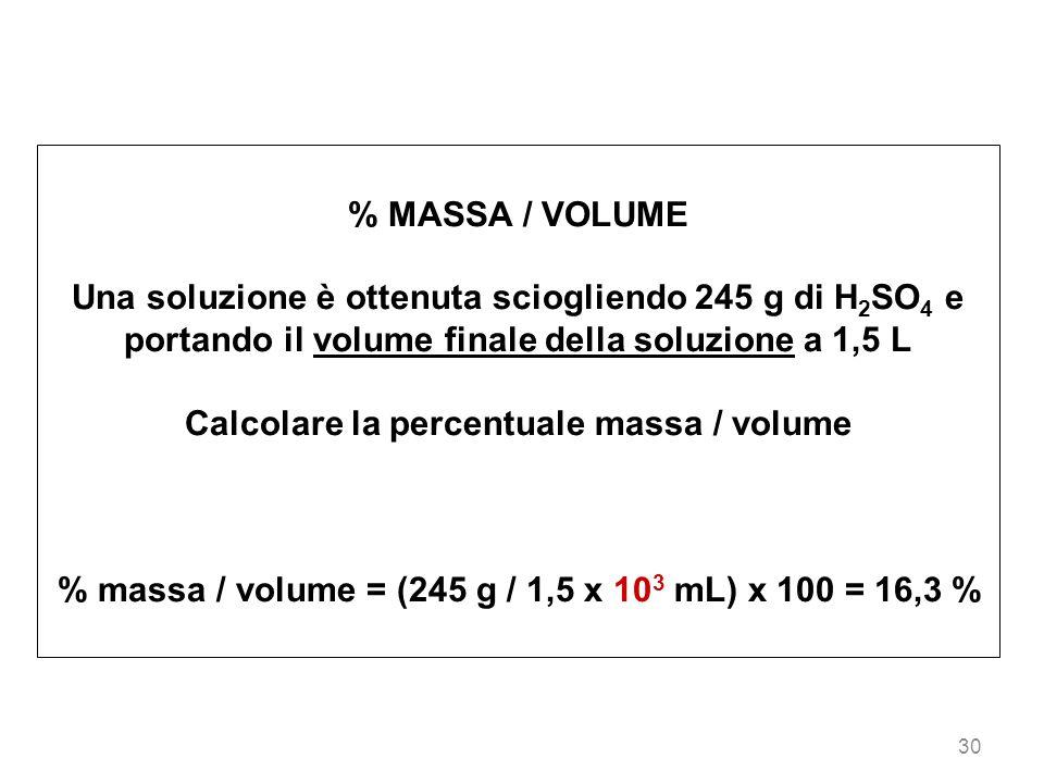 Calcolare la percentuale massa / volume