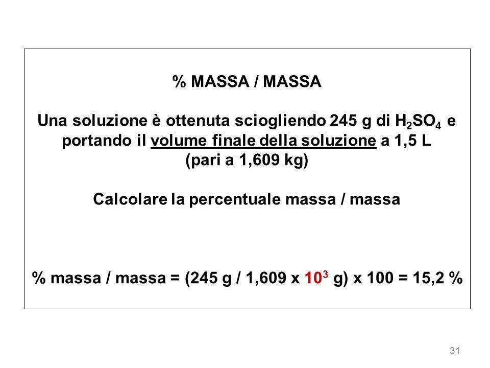 Calcolare la percentuale massa / massa