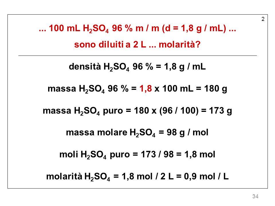 sono diluiti a 2 L ... molarità densità H2SO4 96 % = 1,8 g / mL