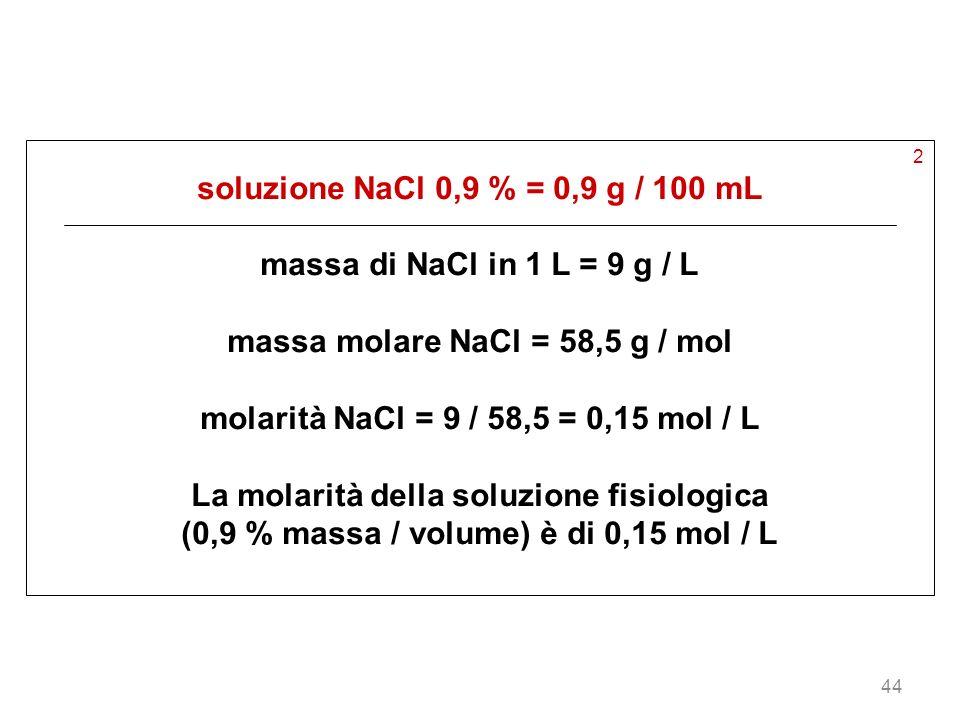 massa molare NaCl = 58,5 g / mol