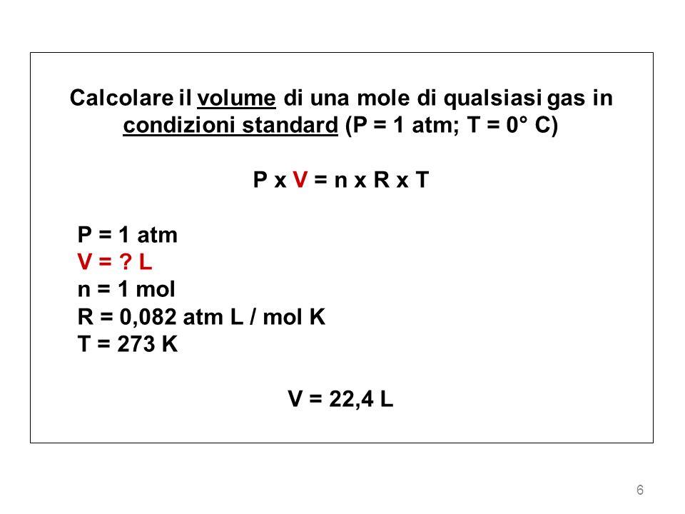 Calcolare il volume di una mole di qualsiasi gas in condizioni standard (P = 1 atm; T = 0° C)