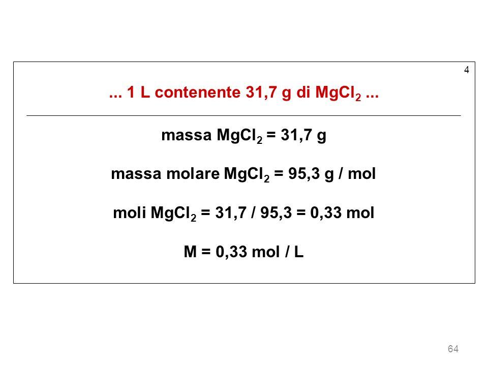 massa molare MgCl2 = 95,3 g / mol