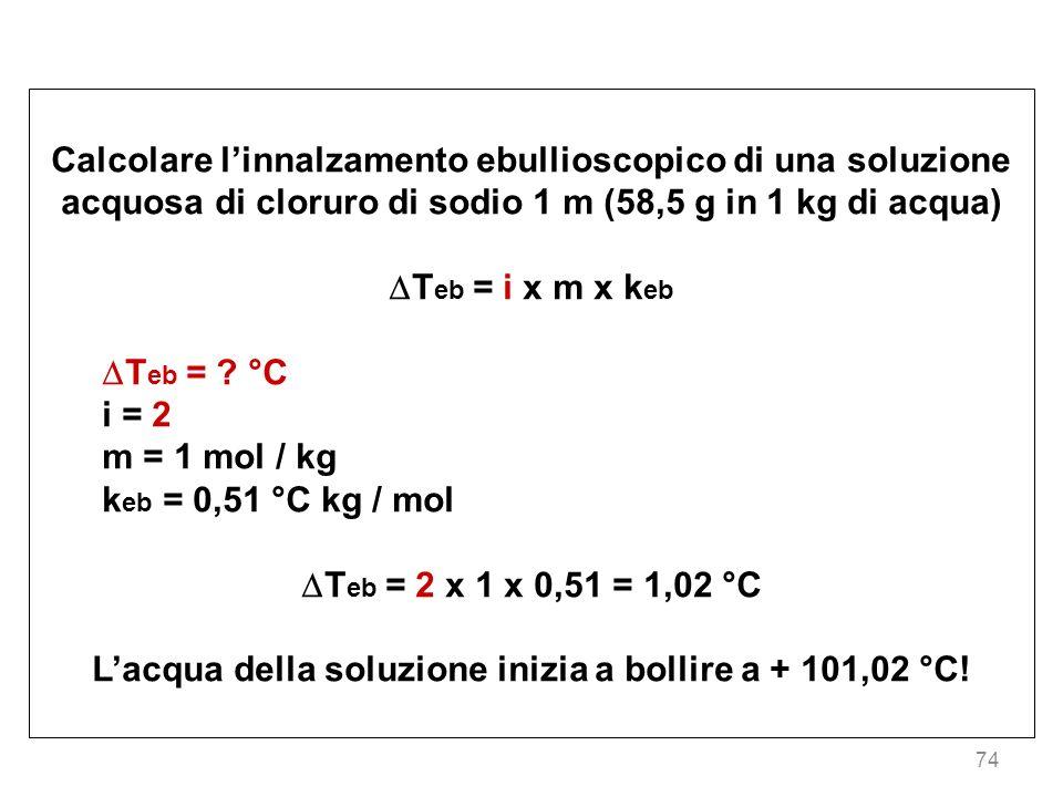 L'acqua della soluzione inizia a bollire a + 101,02 °C!