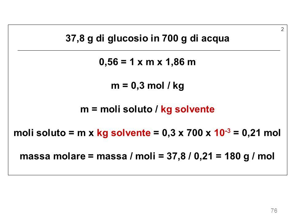 37,8 g di glucosio in 700 g di acqua 0,56 = 1 x m x 1,86 m