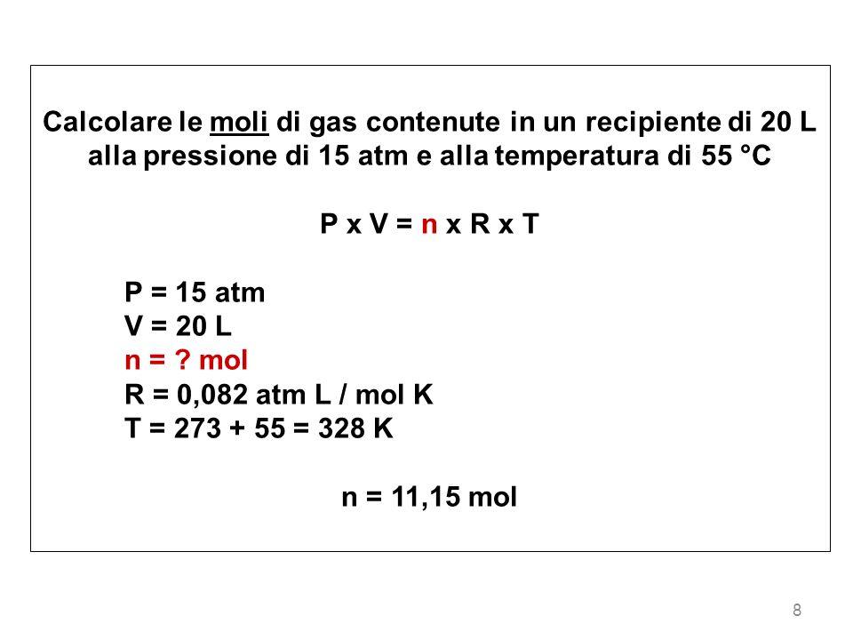 Calcolare le moli di gas contenute in un recipiente di 20 L alla pressione di 15 atm e alla temperatura di 55 °C
