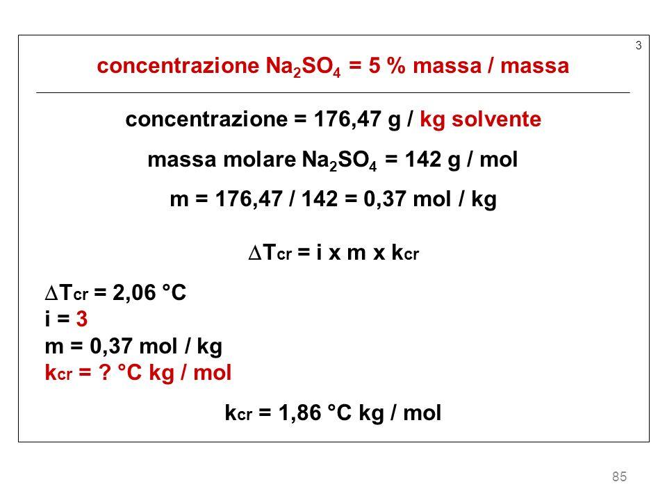 concentrazione Na2SO4 = 5 % massa / massa