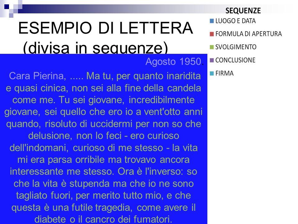 ESEMPIO DI LETTERA (divisa in sequenze)