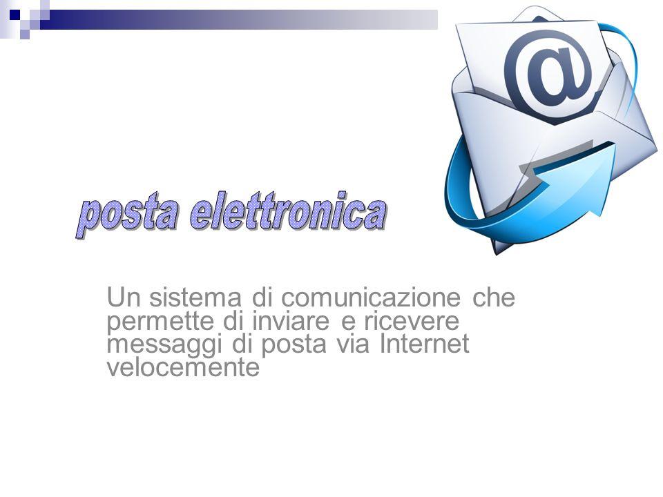 posta elettronica Un sistema di comunicazione che permette di inviare e ricevere messaggi di posta via Internet velocemente.