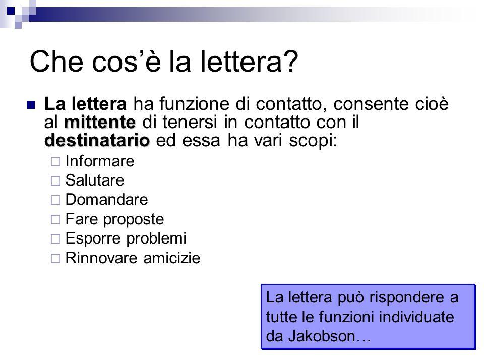 Che cos'è la lettera La lettera ha funzione di contatto, consente cioè al mittente di tenersi in contatto con il destinatario ed essa ha vari scopi: