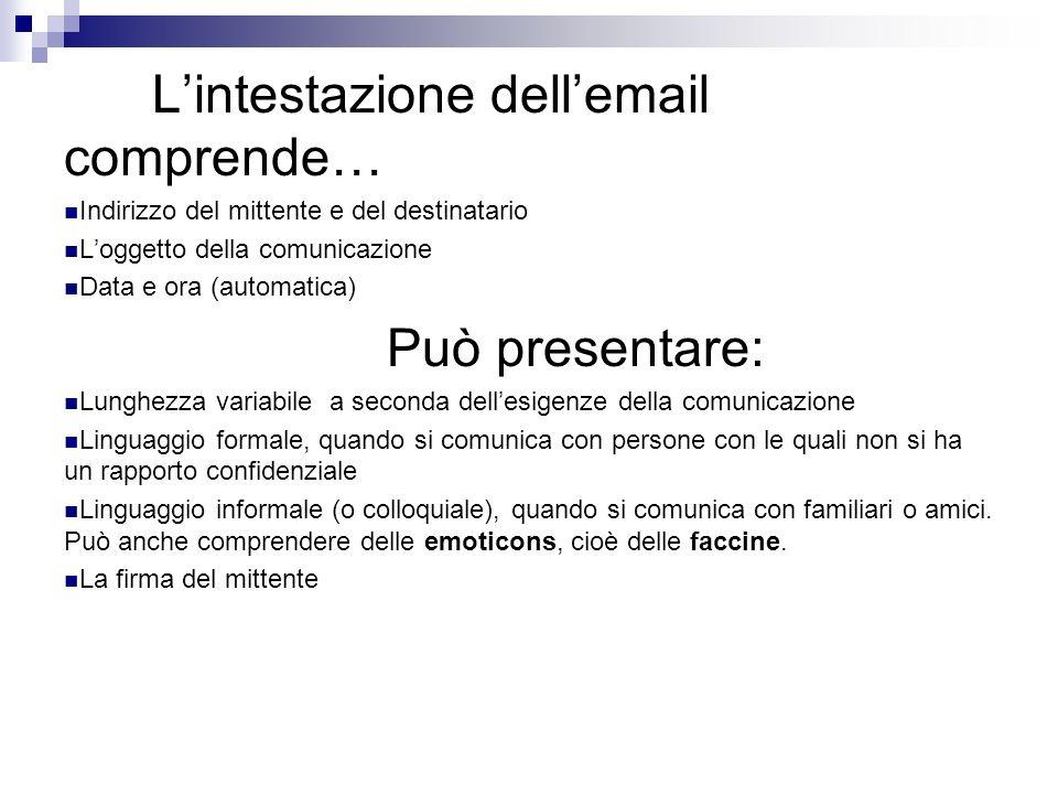 L'intestazione dell'email comprende…
