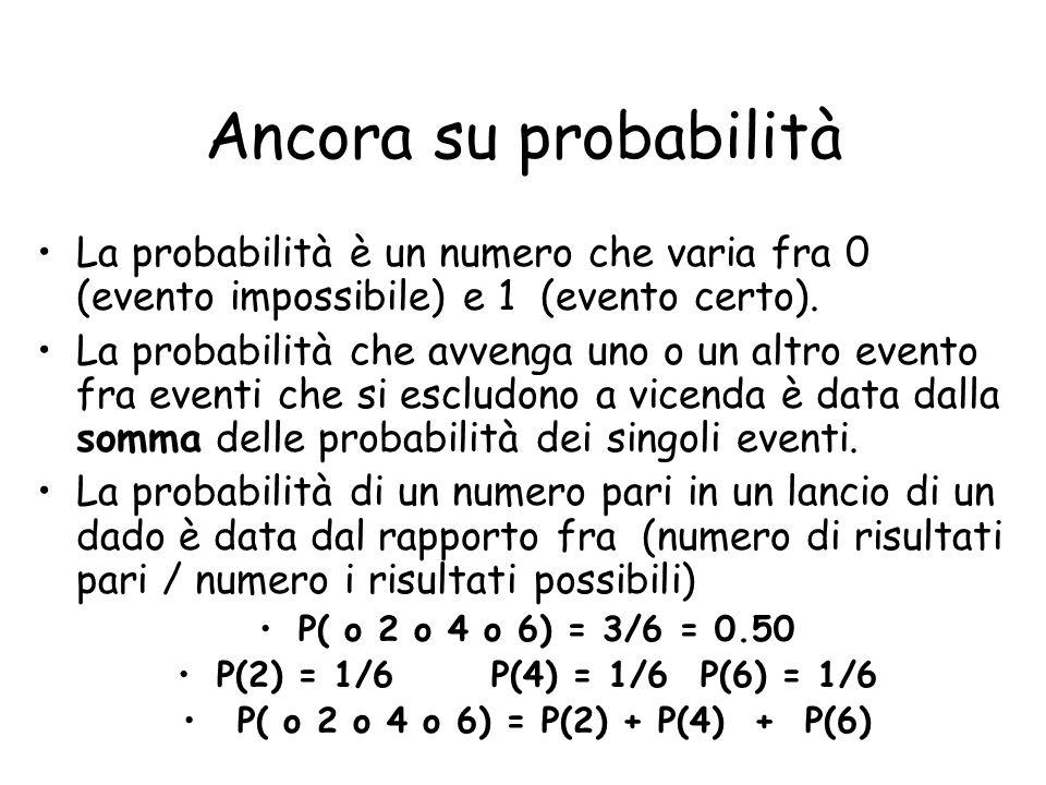 Ancora su probabilità La probabilità è un numero che varia fra 0 (evento impossibile) e 1 (evento certo).