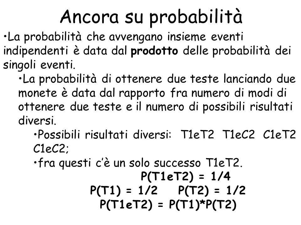 Ancora su probabilità La probabilità che avvengano insieme eventi indipendenti è data dal prodotto delle probabilità dei singoli eventi.