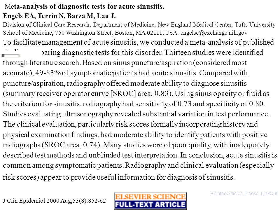 Meta-analysis of diagnostic tests for acute sinusitis