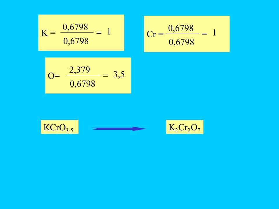 K = 0,6798 = 1 Cr = 0,6798 = 1 O= 2,379 0,6798 = 3,5 KCrO3,5 K2Cr2O7
