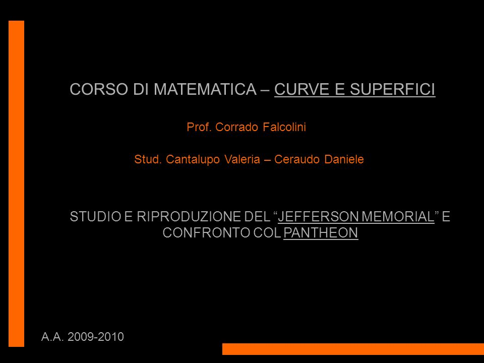CORSO DI MATEMATICA – CURVE E SUPERFICI