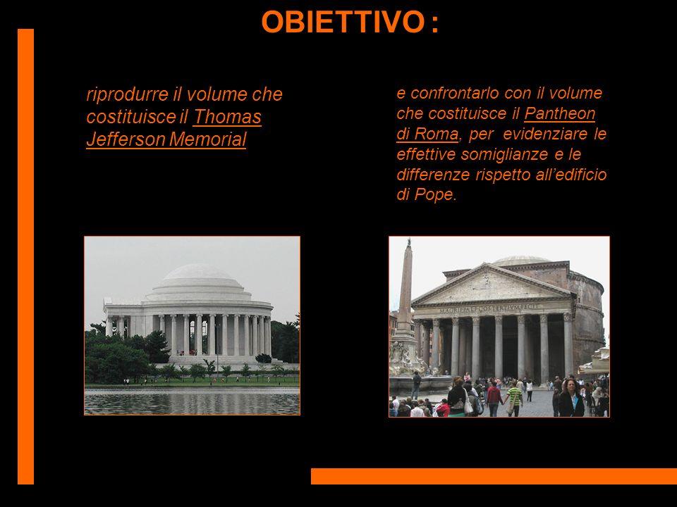 OBIETTIVO : riprodurre il volume che costituisce il Thomas Jefferson Memorial.