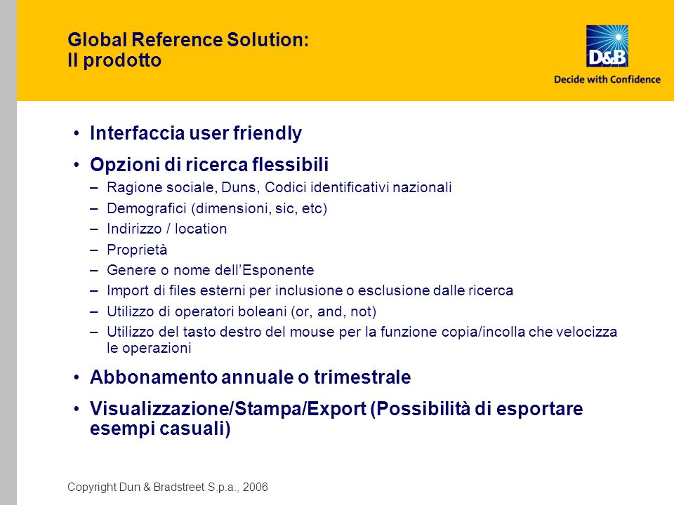 Global Reference Solution: Il prodotto