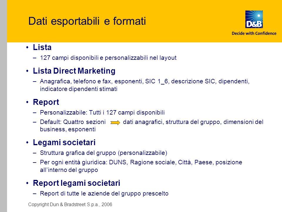 Dati esportabili e formati