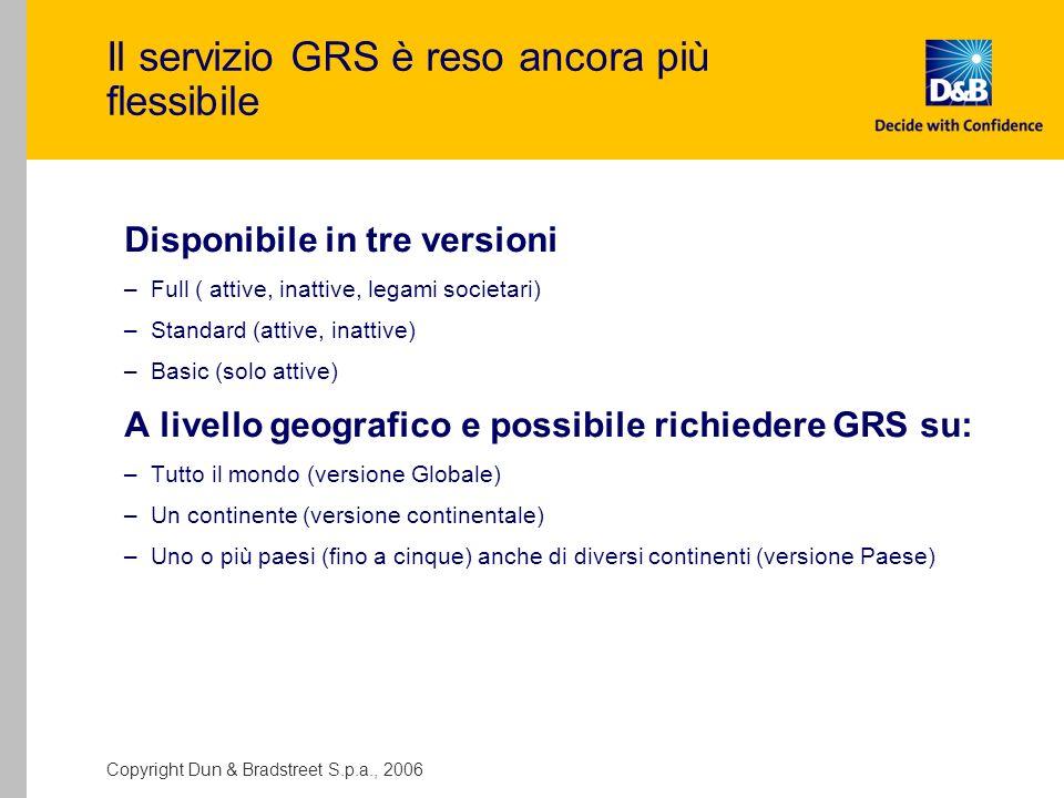 Il servizio GRS è reso ancora più flessibile