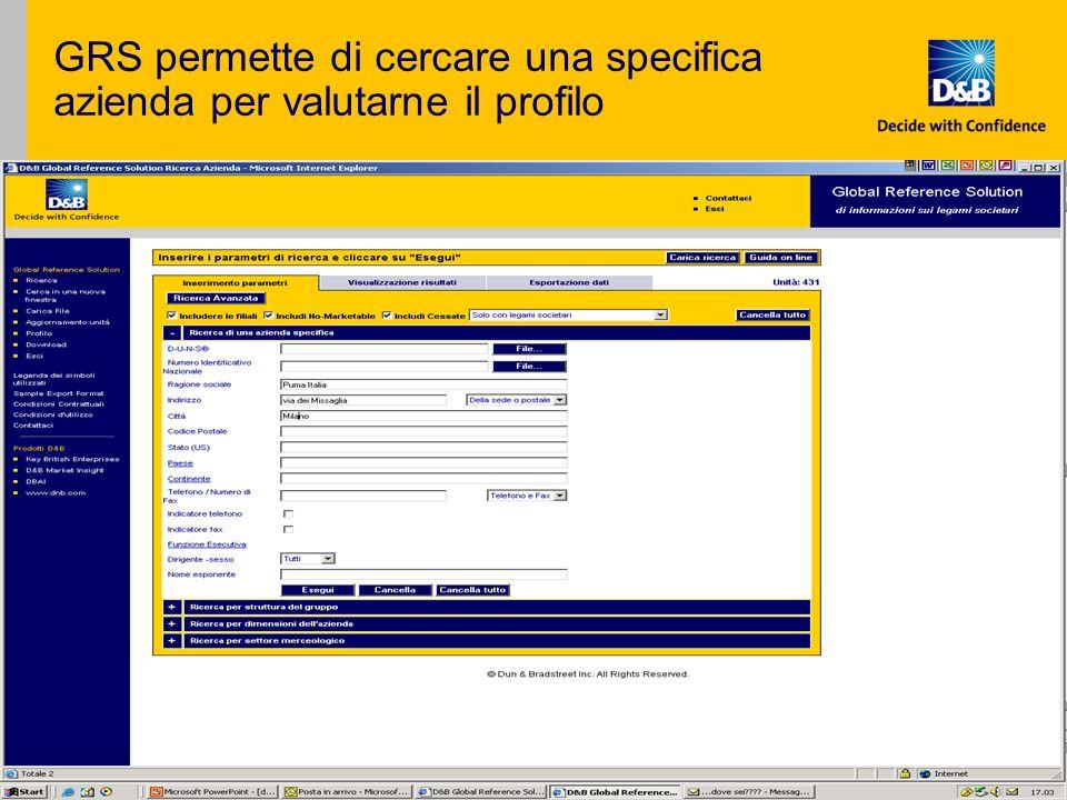 GRS permette di cercare una specifica azienda per valutarne il profilo