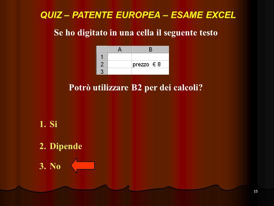 QUIZ – PATENTE EUROPEA – ESAME EXCEL